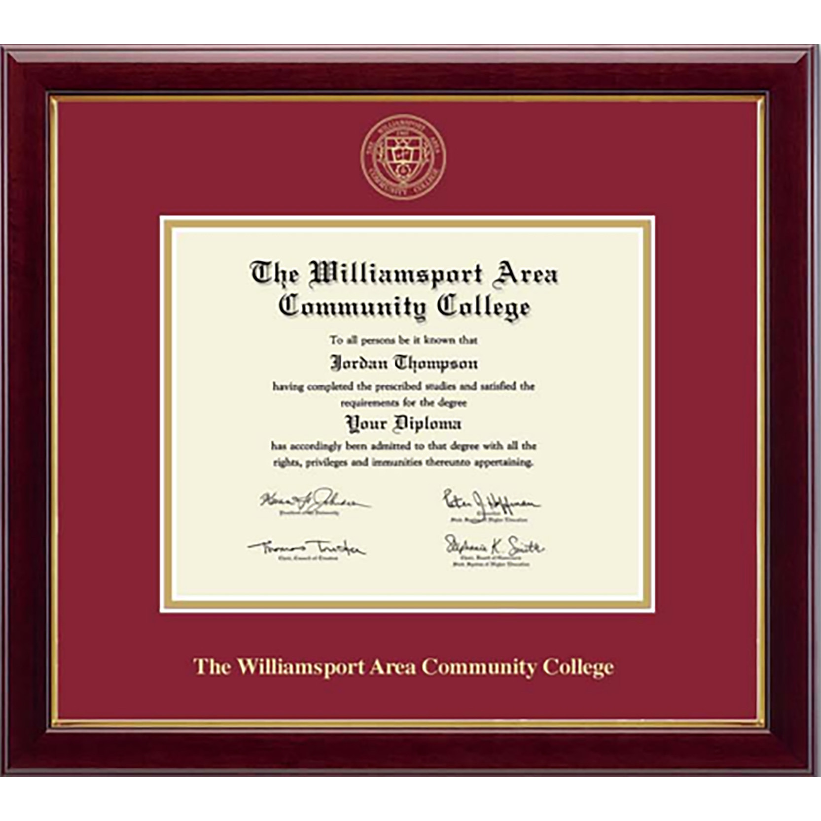Cover Image For GOLD EMBOSSED WACC Diploma Frame