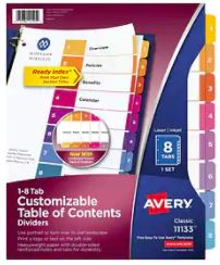 Image For Dividers Avery #11133