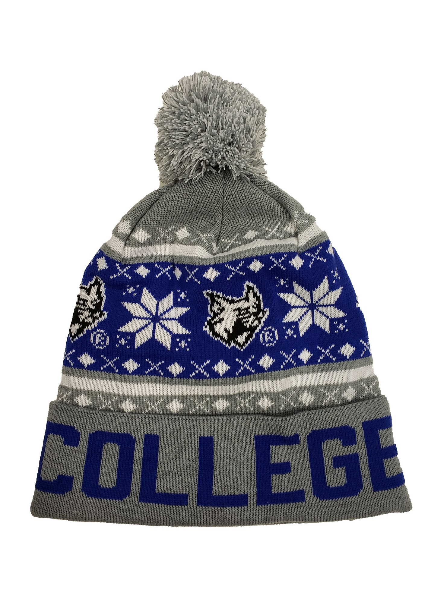 Image For Pom Beanie Royal/White/Grey