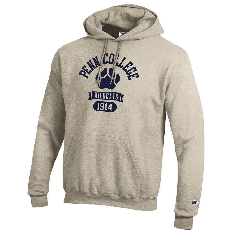 Image For Champion Oatmeal Hoodie with Navy Graphics
