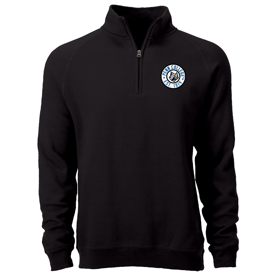 Image For Black 1/4 Zip with Penn College Patch